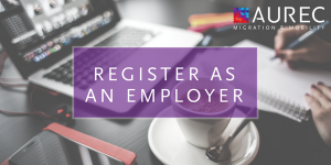 Register as an employer image with a neat desk background, coffee and laptop
